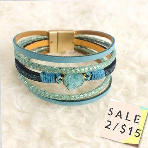 Handmade Turquoise Crystal Leather Band Bracelet